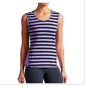 Athleta Ocean Stripe Chi Muscle Purple Tank Top XS